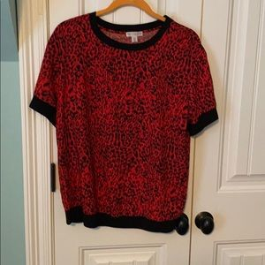 Red animal print blouse